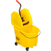 Rubbermaid WaveBrake® 2.0 Mop Bucket & Wringer Combo w/Down Press, 35 Qt. FG757788YEL