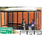 Smoking Shelter Dome Roof Four Sided With Left Front Opening 15' x 5'