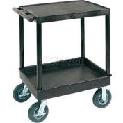 "Luxor® TC21FR-8 Flat Top Shelf 2 Shelf Plastic Cart 8"" Semi-Pneu Casters"