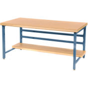 """Stationary 72"""" X 36"""" Shop Top Square Edge Workbench - Blue"""