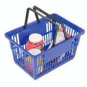 "Plastic Shopping Basket with Plastic Handle, 17""x12""x9"", Blue - Pkg Qty 12"