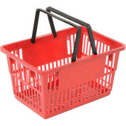 "Plastic Shopping Basket with Plastic Handle, Standard, 17""L X 12""W X 9""H, Red, Good L Corp. ® - Pkg Qty 12"