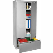 """Sandusky System Series All-Welded Storage Cabinet With File Drawer, 30""""Wx18""""Dx64""""H, Gray"""