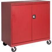 Sandusky Mobile Work Height Storage Cabinet TA11361830 Double Door - 36x18x30, Red