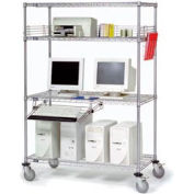 "Nexel™ 4-Shelf Mobile Wire Computer LAN Workstation w/Keyboard Tray, 36""W x 18""D x 69""H, Chrome"