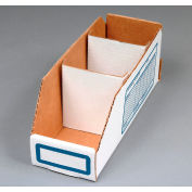 "Corrugated Cardboard Divider for Shelf Bin 4""W, White  - Pkg Qty 250"