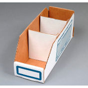 "Corrugated Cardboard Divider for Shelf Bin 8""W, White  - Pkg Qty 250"