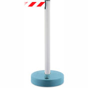 Tensabarrier White Outdoor Post 7.5'L Red/White Chevron Retractable Belt Barrier