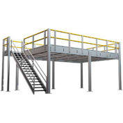 "9'H Pre-Engineered Mezzanine (24'W x 24'D) With Resin Board Over 1-1/2"" Corrugated Steel Deck"