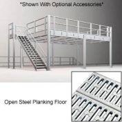 9'H Pre-Engineered Mezzanine (12'W x 48'D) With Open Steel Planking