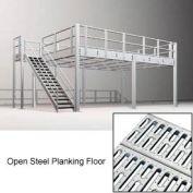 9'H Pre-Engineered Mezzanine (48'W x 64'D) With Open Steel Planking