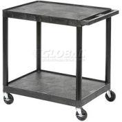 Luxor® HE32 Black Plastic Shelf Truck 24 x 18 x 33-1/2 2 Shelves