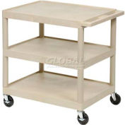Luxor® HE-34 Putty Plastic Shelf Truck 24 x 18 x 32-1/2 with 3 Shelves