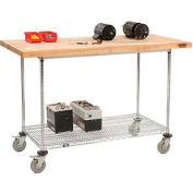 """60""""W x 30""""D Mobile Workbench with Wire Rack - Maple Butcher Block Square Edge"""