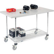 "60""W x 30""D Mobile Workbench with Wire Rack - Plastic Laminate Square Edge"