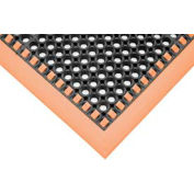 "7/8"" Thick Hi-Visibility Safety Mat with Borders on 3 Sides - 38x124 Orange"