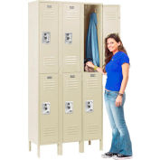 Infinity™ Locker Double Tier 12x12x36 6 Door Ready To Assemble Tan