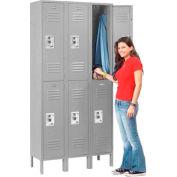 Infinity™ Locker Double Tier 12x15x36 6 Door Ready To Assemble Gray