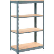 """Global Industrial™ Heavy Duty Shelving 48""""W x 12""""D x 60""""H With 4 Shelves - Wood Deck - Gray"""