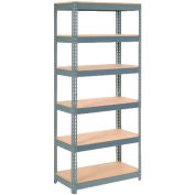 "Extra Heavy Duty Shelving 36""W x 24""D x 60""H With 6 Shelves, Wood Deck"