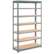 "Heavy Duty Shelving 48""W x 24""D x 84""H With 7 Shelves, Wood Deck"