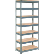"""Extra Heavy Duty Shelving 36""""W x 24""""D x 84""""H With 7 Shelves, Wood Deck"""
