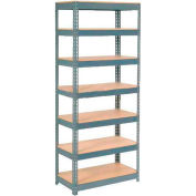 """Extra Heavy Duty Shelving 48""""W x 12""""D x 84""""H With 7 Shelves - Wood Deck - Gray"""