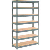 """Extra Heavy Duty Shelving 48""""W x 24""""D x 84""""H With 7 Shelves - Wood Deck - Gray"""
