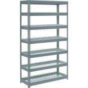 """Extra Heavy Duty Shelving 48""""W x 18""""D x 84""""H With 7 Shelves - Wire Deck - Gray"""