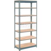 "Heavy Duty Shelving 36""W x 18""D x 96""H With 7 Shelves, Wood Deck"