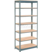 "Heavy Duty Shelving 36""W x 24""D x 96""H With 7 Shelves, Wood Deck"