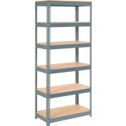"""Extra Heavy Duty Shelving 36""""W x 18""""D x 96""""H With 6 Shelves - Wood Deck - Gray"""