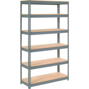 """Extra Heavy Duty Shelving 48""""W x 18""""D x 96""""H With 6 Shelves - Wood Deck - Gray"""