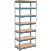 """Extra Heavy Duty Shelving 36""""W x 12""""D x 96""""H With 7 Shelves, Wood Deck"""