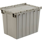 Global Industrial™ Plastic Attached Lid Shipping & Storage Container 21-7/8x15-1/4x17-1/4 Gray