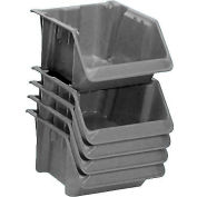 "LEWISBins Fiberglass Hopper Bin SH1811-7 Stack And Nest 18""L x 11-1/2""W x 8""H Gray - Pkg Qty 5"