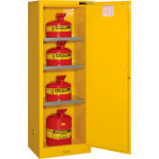 "Justrite Flammable Cabinet, 22 Gallon, Self-Close, Single Door, 23""W x 18""D x 65""H"