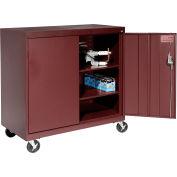 Sandusky Mobile Work Height Storage Cabinet TA2R462442 Double Door - 46x24x48, Burgundy