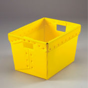 Corrugated Plastic Postal Mail Tote Without Lid 18-1/2x13-1/4x12 Yellow - Pkg Qty 10