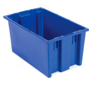 Plastic Shipping Containers - Stackable & Nesting SNT200 No Lid 19-1/2 x 13-1/2 x 8, Blue - Pkg Qty 6