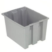 Stack And Nest Container - Plastic Storage SNT240 No Lid 23-1/2 x 15-1/2 x 12, Gray - Pkg Qty 3