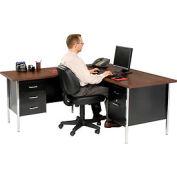 """72"""" x 66"""" L-Desk With Left Return-Black/Walnut Top"""
