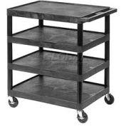 Luxor® BC40 Black Plastic Shelf Truck 32 x 24 x 39 4 Shelves