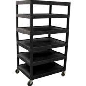 Luxor® BC60 Black Plastic Shelf Truck 32 x 24 x 60 6 Shelves