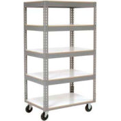 Easy Adjust Boltless 5 Shelf Truck 36 x 18 with Laminate Shelves - Polyurethane Casters