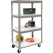 Global Industrial™ Easy Adjust Boltless 4 Shelf Truck 36x24, Laminate Shelves, Poly Casters