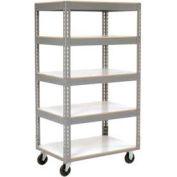 Global Industrial™ Easy Adjust Boltless 5 Shelf Truck 36x24, Laminate Shelves, Poly Casters