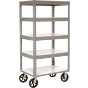 Easy Adjust Boltless 5 Shelf Truck 36 x 24 with Laminate Shelves - Rubber Casters