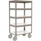 Easy Adjust Boltless 5 Shelf Truck 60 x 24 with Laminate Shelves - Pneumatic Casters