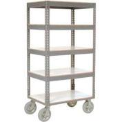 Global Industrial™ Easy Adj. Boltless 5 Shelf Truck 60x24, Laminate Shelves, Pneumatic Casters